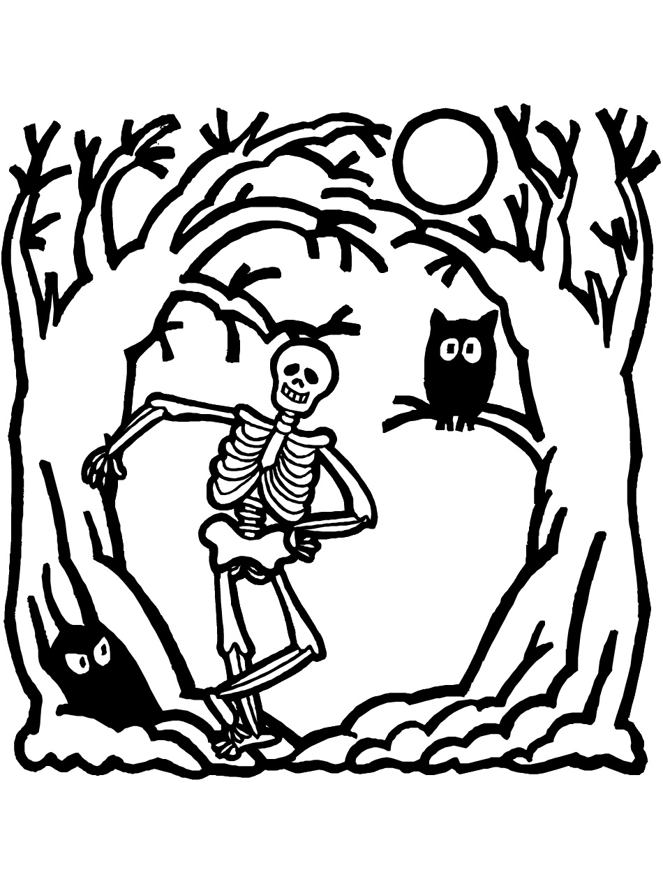 skeleton coloring pages for kids az coloring pages