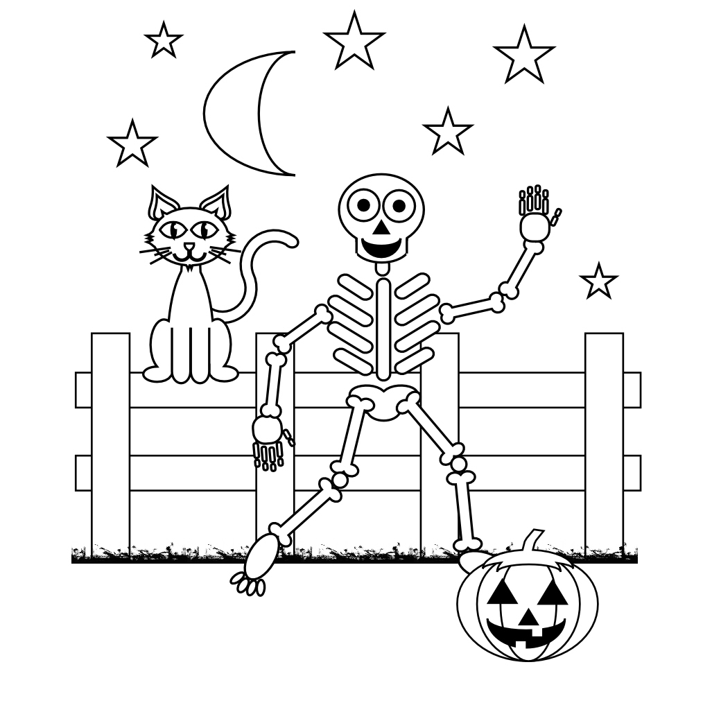 free skeleton coloring pages - Halloween Skeleton Coloring Pages