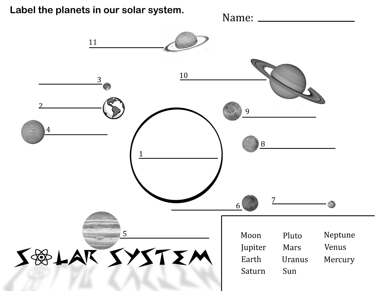 about the solar system printable - photo #15