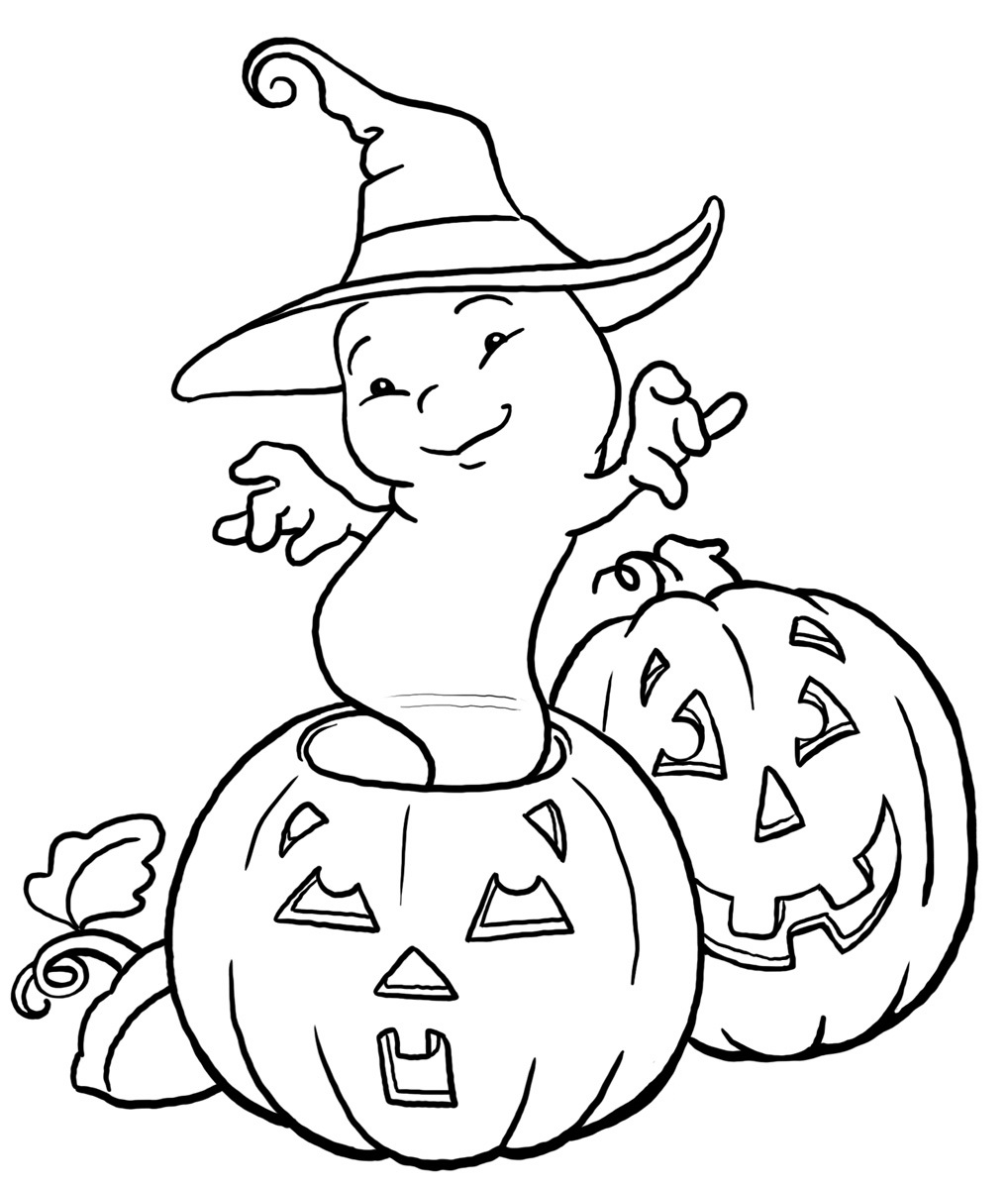 Free printable ghost coloring pages for kids for Cute halloween coloring pages free