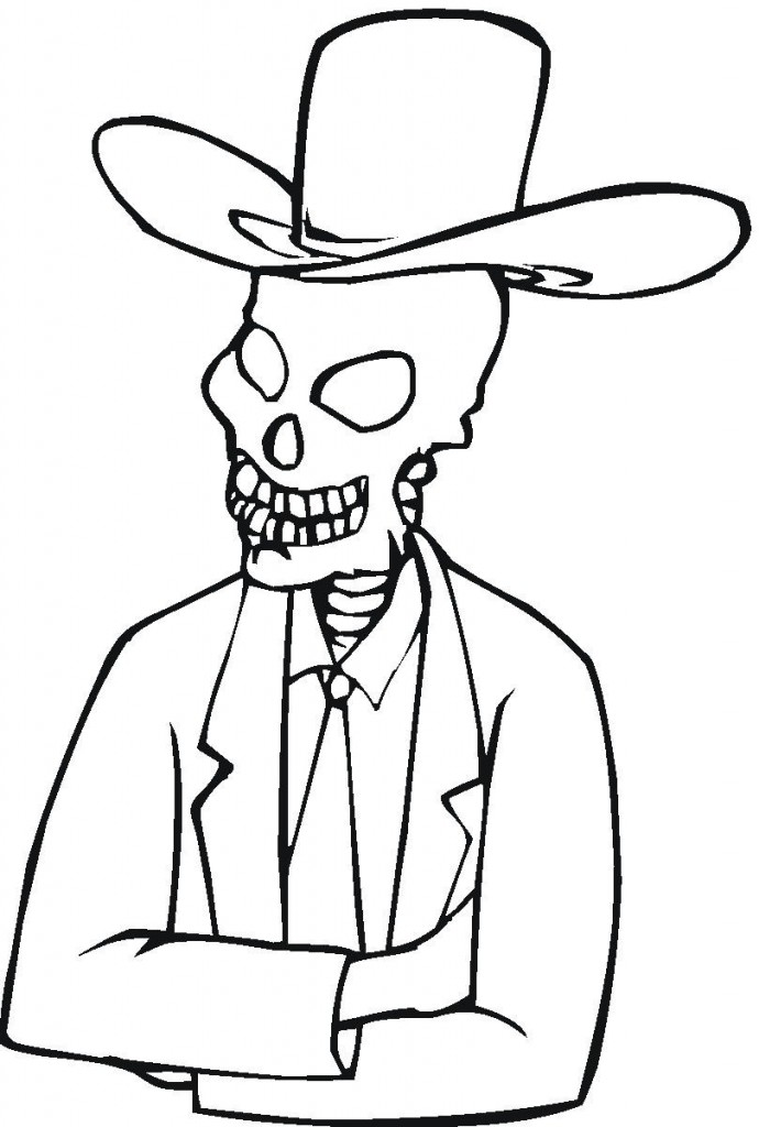 Ghost Skeleton Coloring Pages