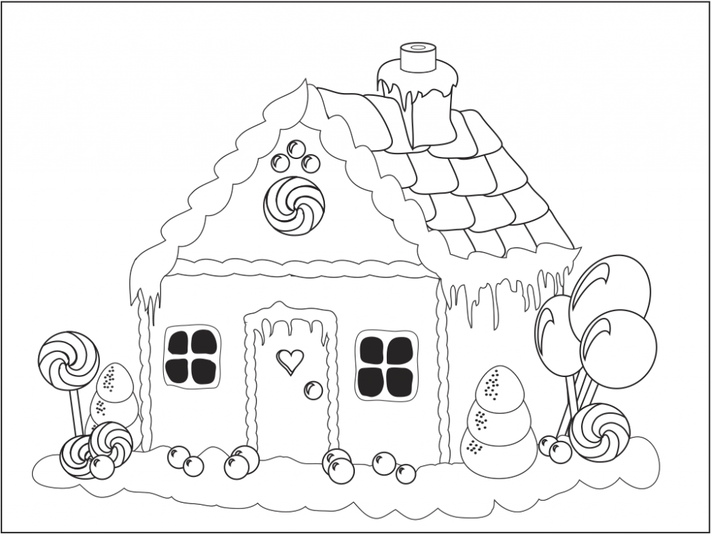 Free printable house coloring pages for kids for Gingerbread house coloring pages