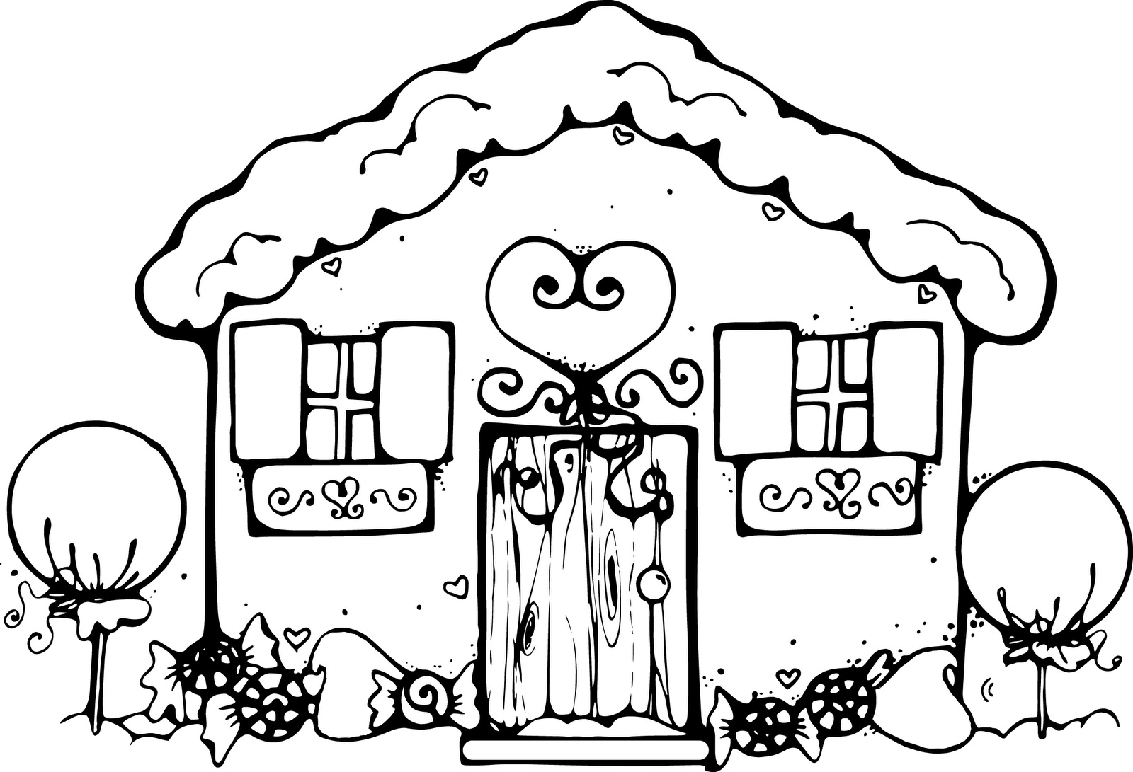 free houses coloring page and printable gingerbread house