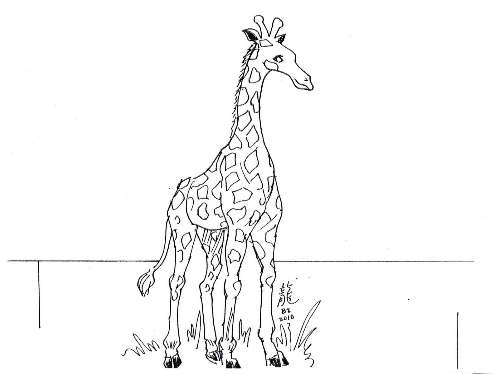 giraffe coloring page for kids pictures - Picture Painting For Kids