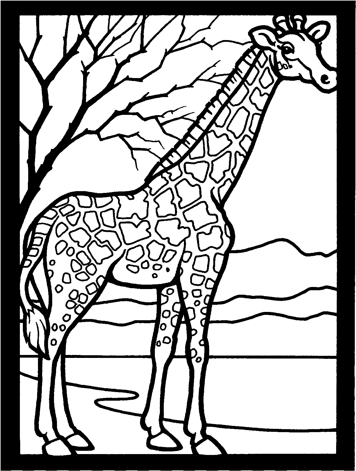 giraffe coloring page for kids - Colour In For Kids