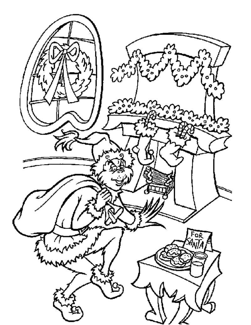 Christmas colouring in sheets printable - Grinch Coloring Pages To Print