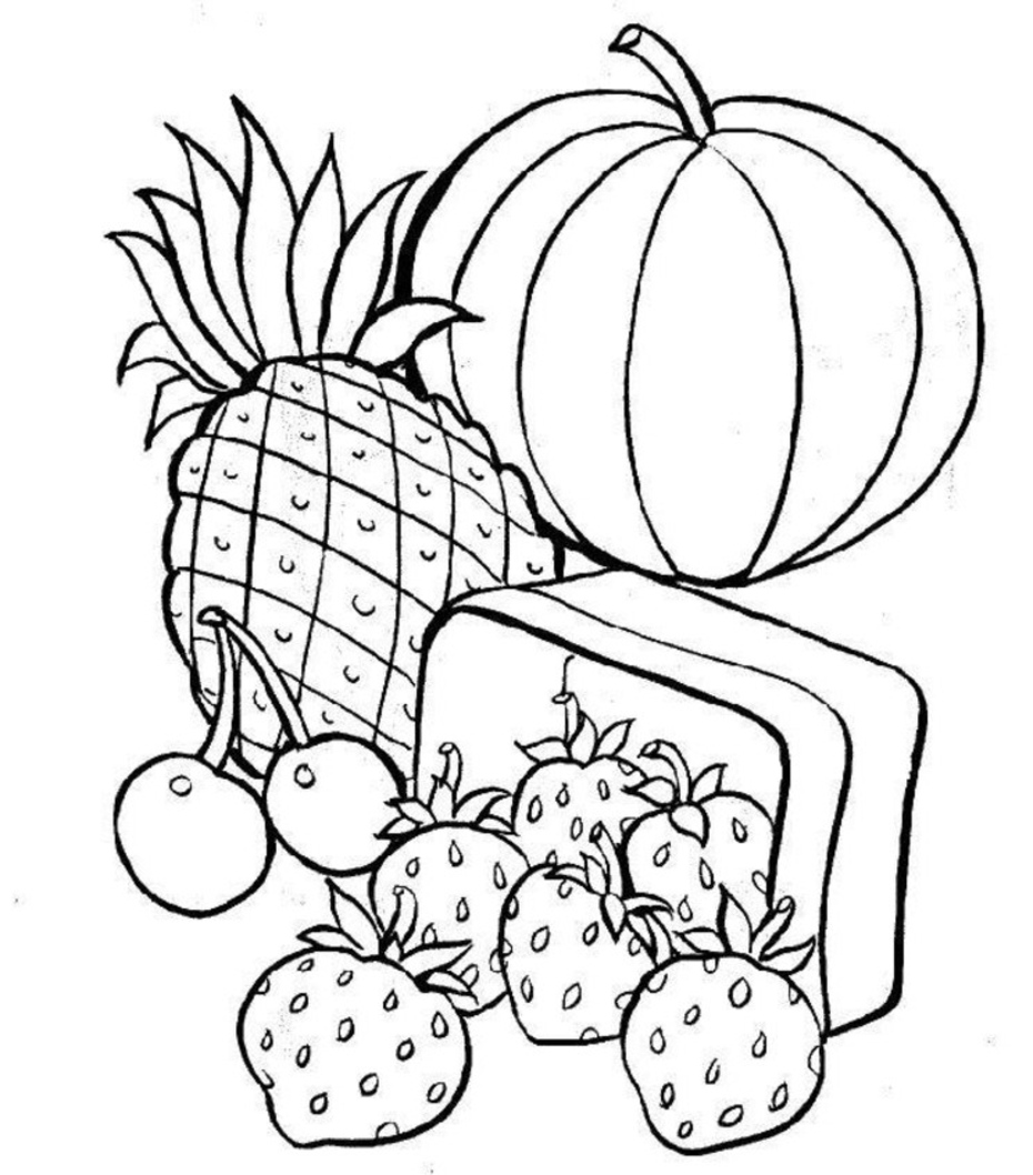Food to coloring pages ~ Free Printable Food Coloring Pages For Kids