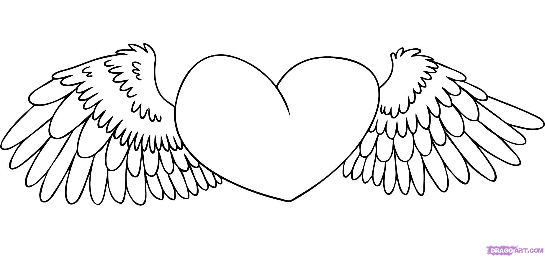 Coloring page x wing - Heart With Wings Coloring Pages