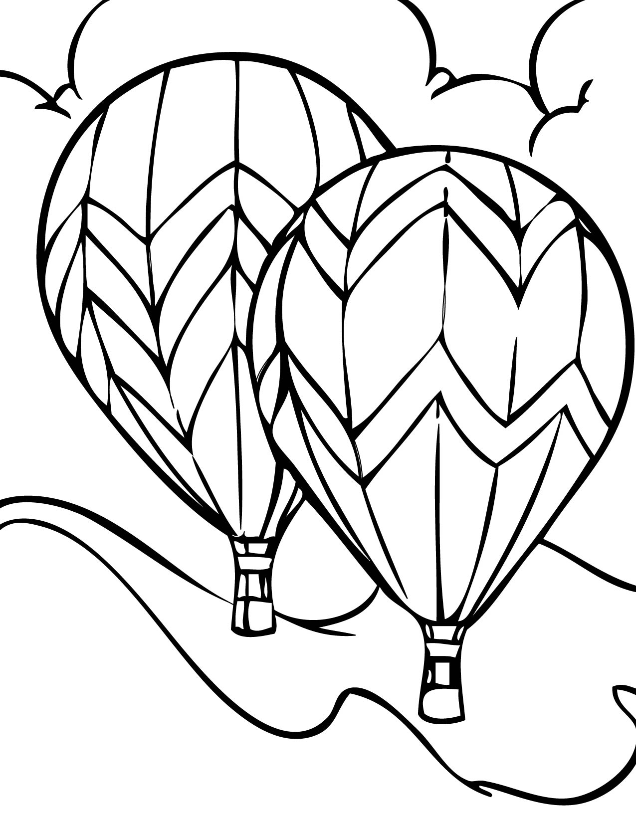 Clip Art Hot Air Balloon Color Page free printable hot air balloon coloring pages for kids images