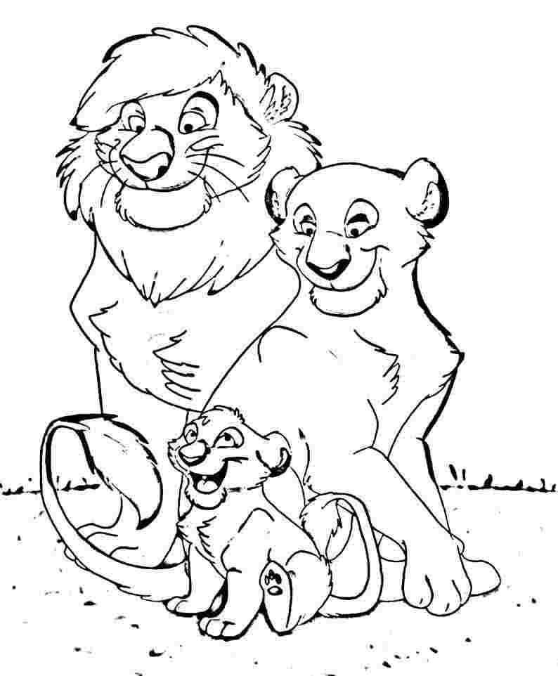 coloring pages of families - free printable lion coloring pages for kids
