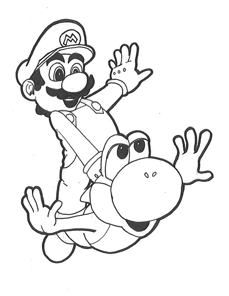 mario and yoshi coloring pages to print