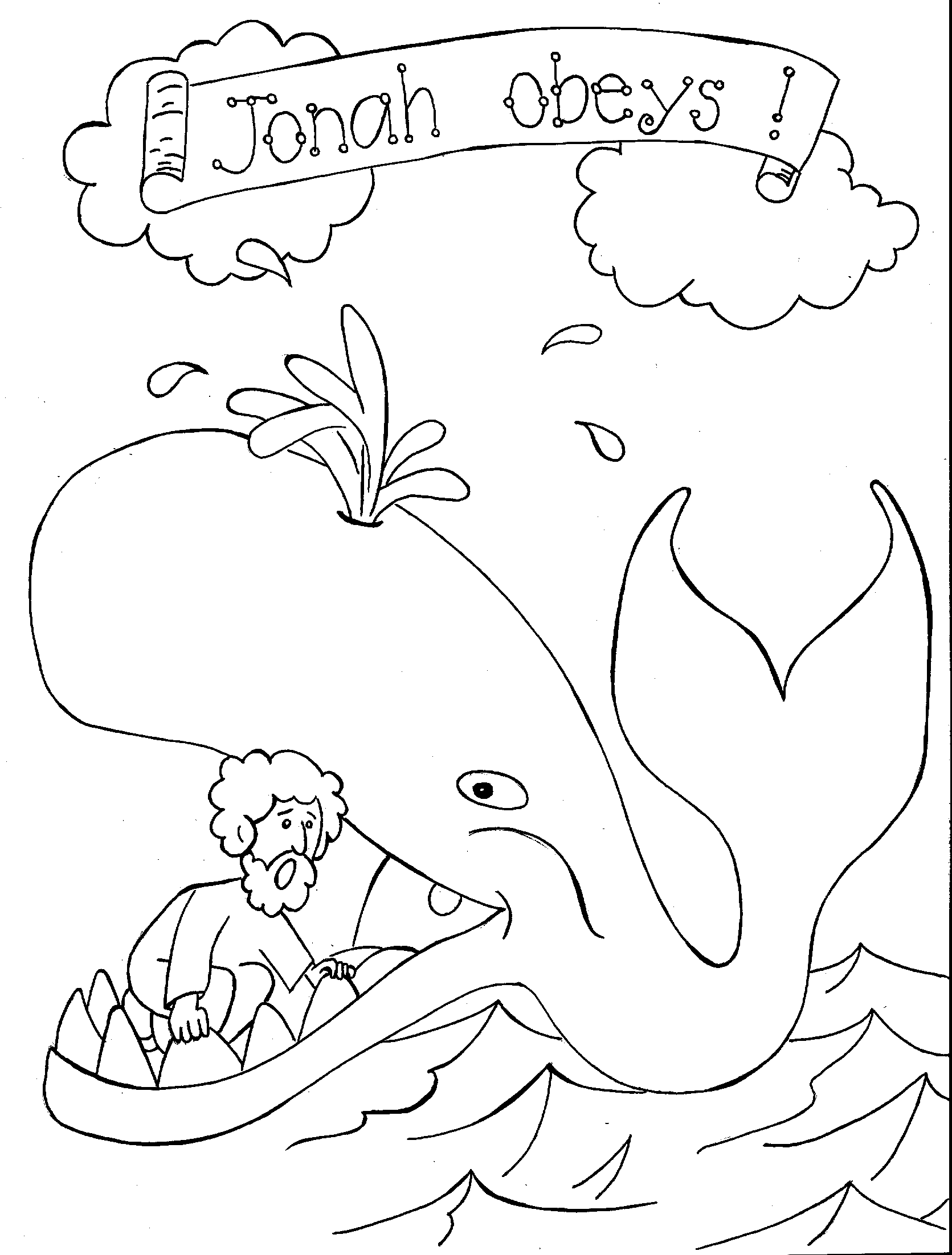 free printable whale coloring pages for kids - Jonah Whale Coloring Page