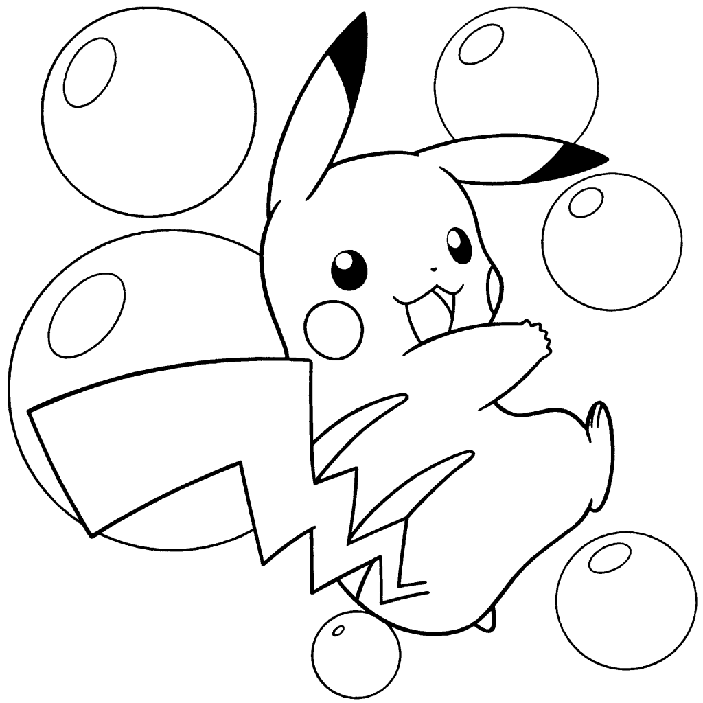 Eevee and pikachu coloring pages - Pikachu Pokemon Coloring Pages
