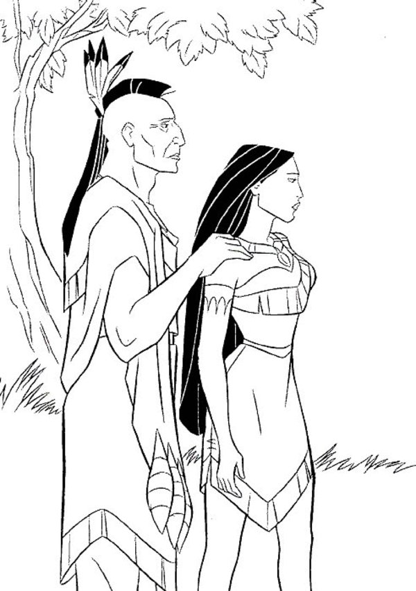 Pocahontas and Kocoum Coloring Pages