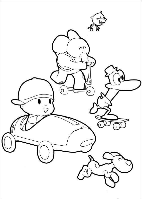 pocoyo coloring pages kids - Pocoyo Friends Coloring Pages