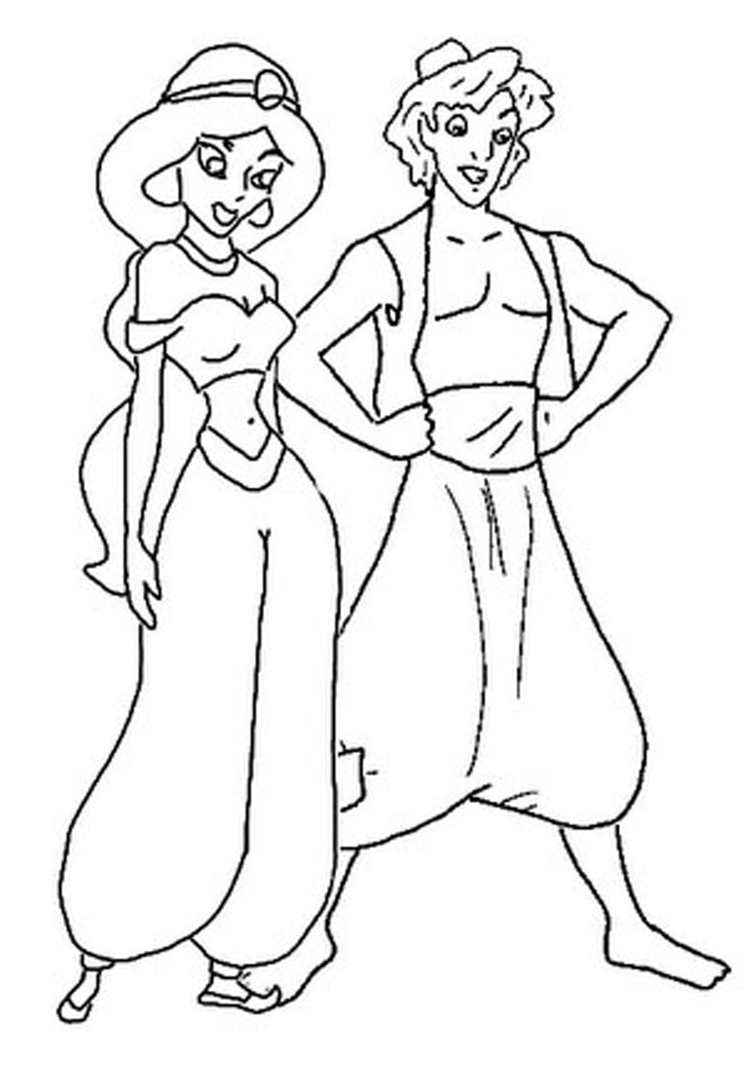 Princess jasmine colouring pages to print - Printable Aladdin Coloring Pages