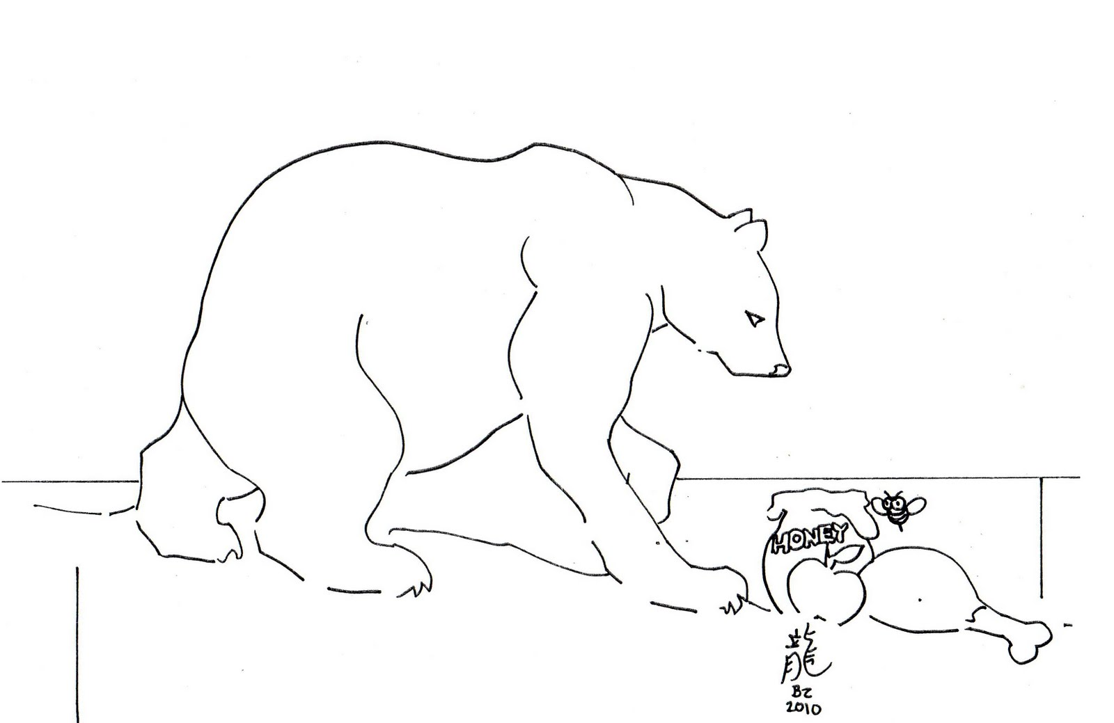 Polar animals coloring pages for kids - Printable Polar Bear Color Page