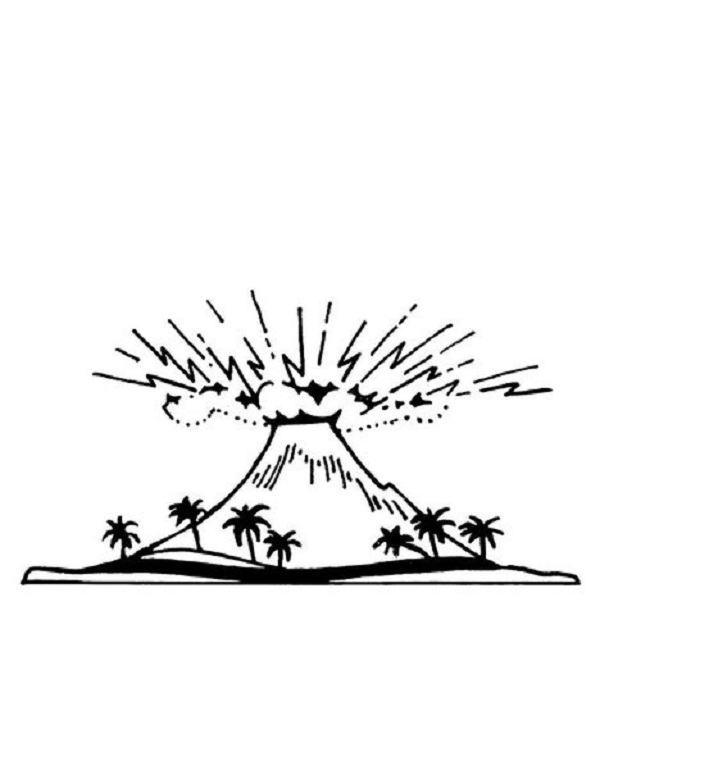 Erupting Volcano Coloring Pages Volcano Template Coloring