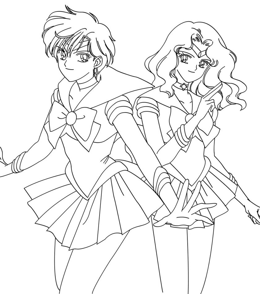Sailor neptune coloring pages coloring pages for Sailor moon group coloring pages