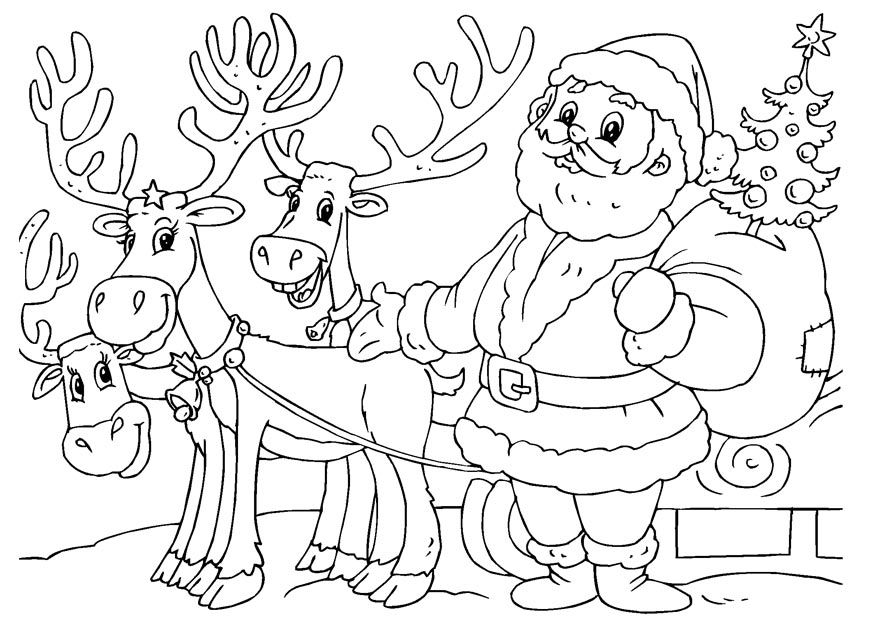 santa with reindeer coloring pages free printable reindeer coloring pages for kids