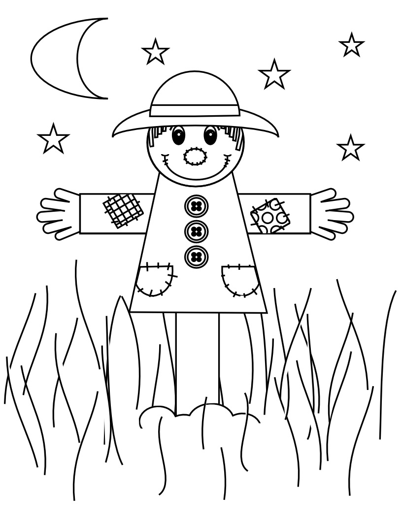 s is for scarecrow coloring pages - photo #13