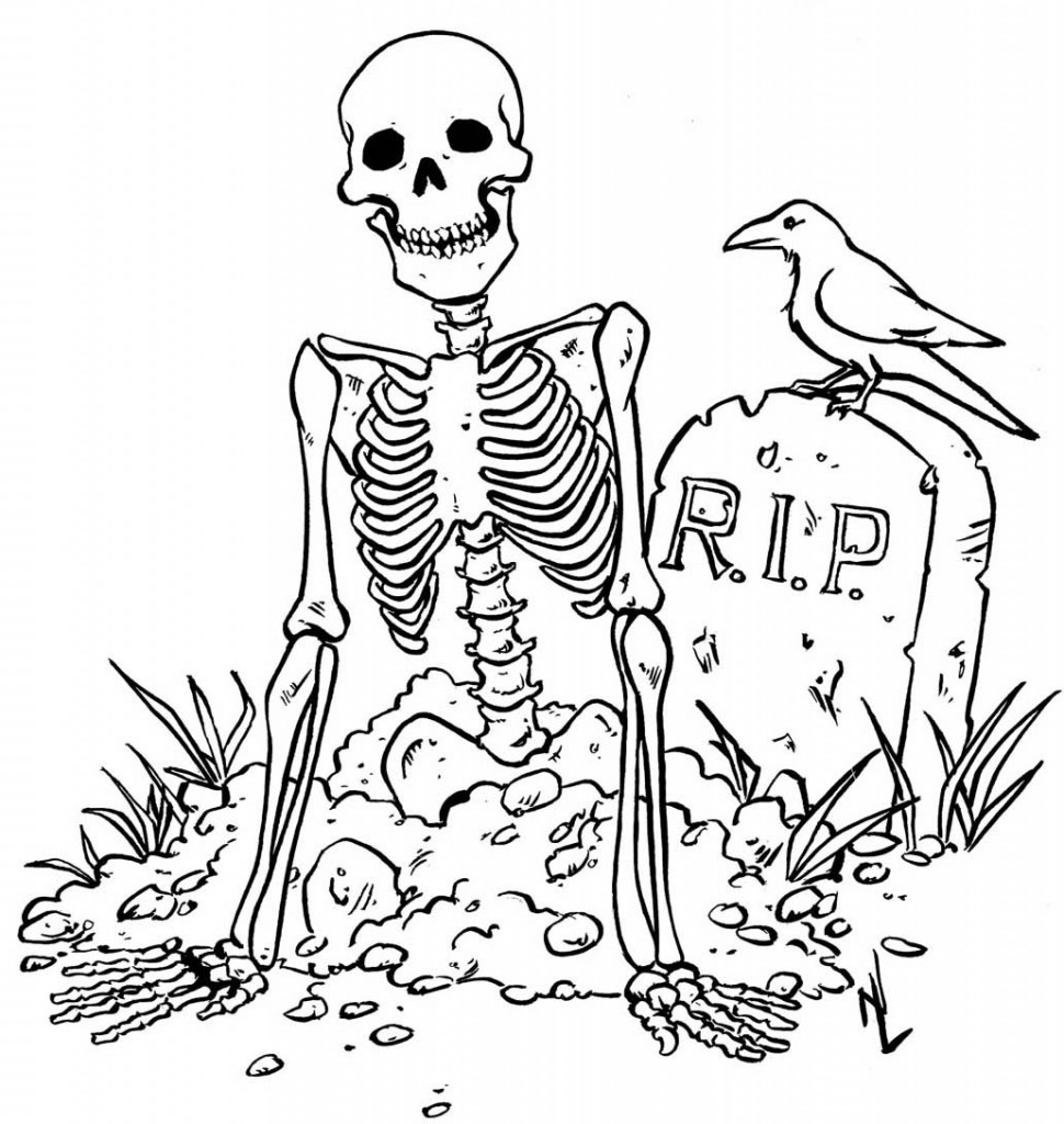 Free printable skeleton coloring pages for kids for Halloween pictures to colour in
