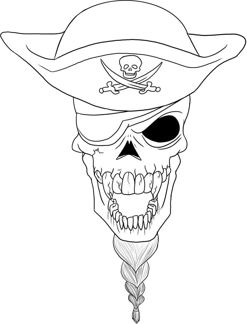 Pirate colouring pages to print - Skull Anatomy Coloring Pages