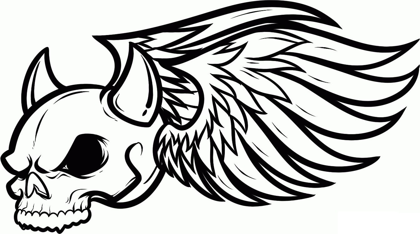 skull wings coloring pages