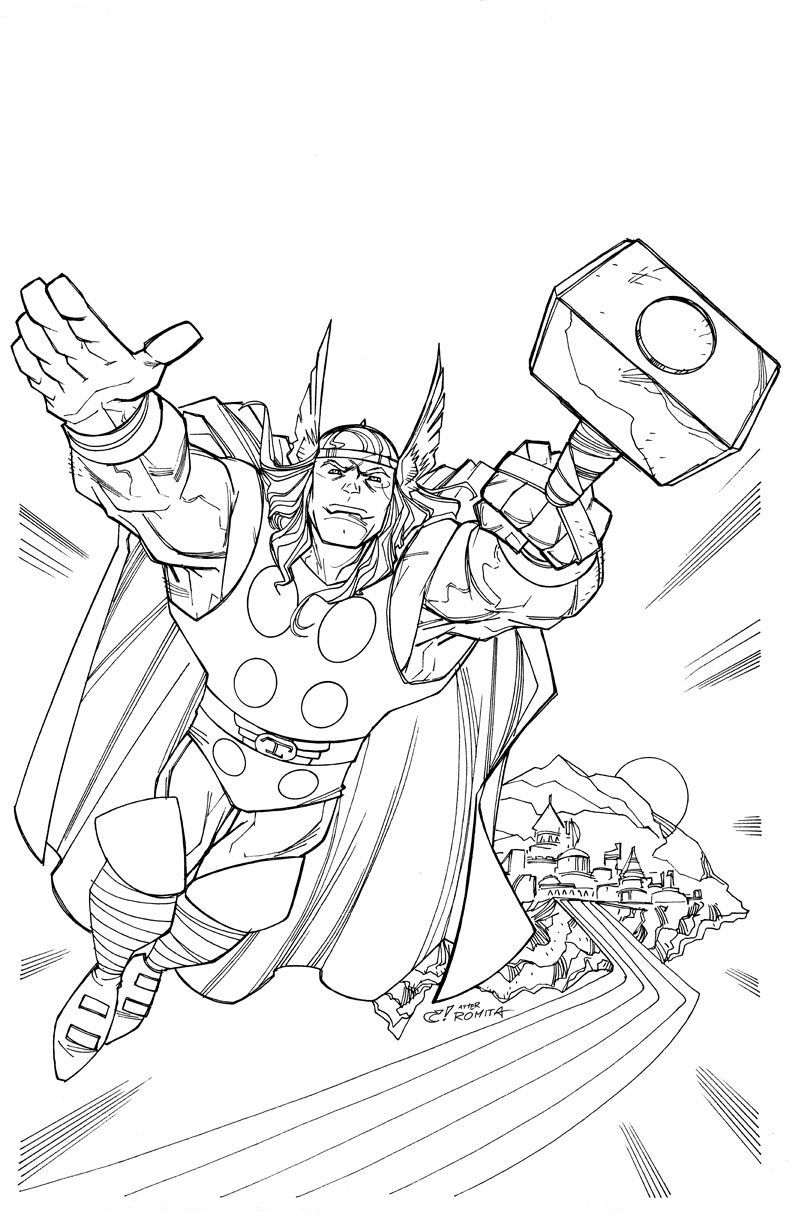 Free printable thor coloring pages for kids for Colores para pintar