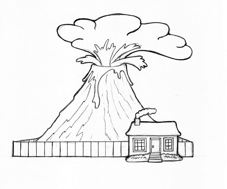 coloring pages volcano - photo #22