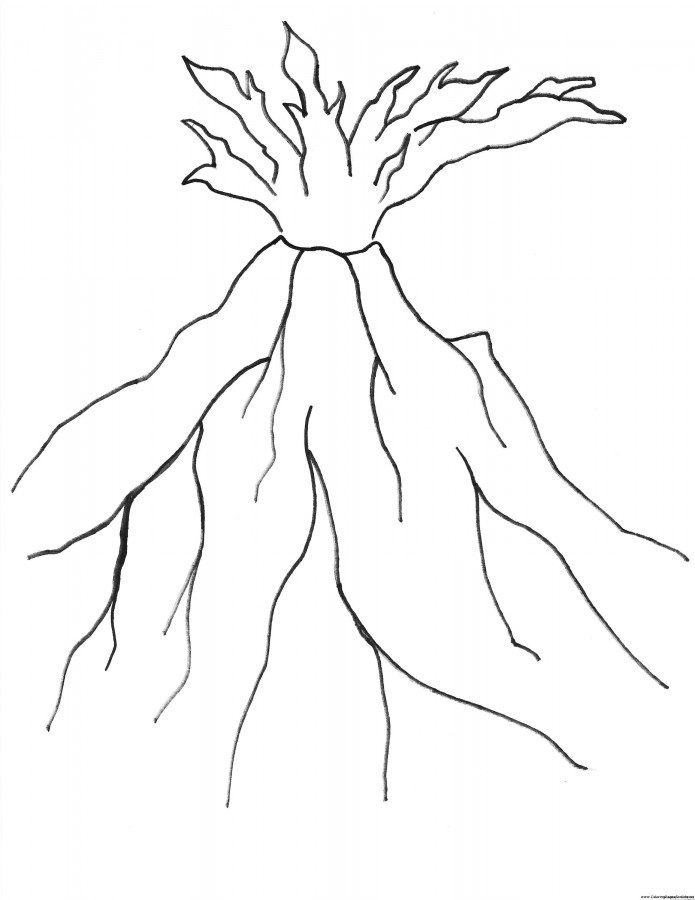 coloring pages volcano - photo #13