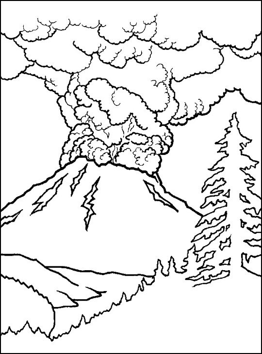 coloring pages volcano - photo #7