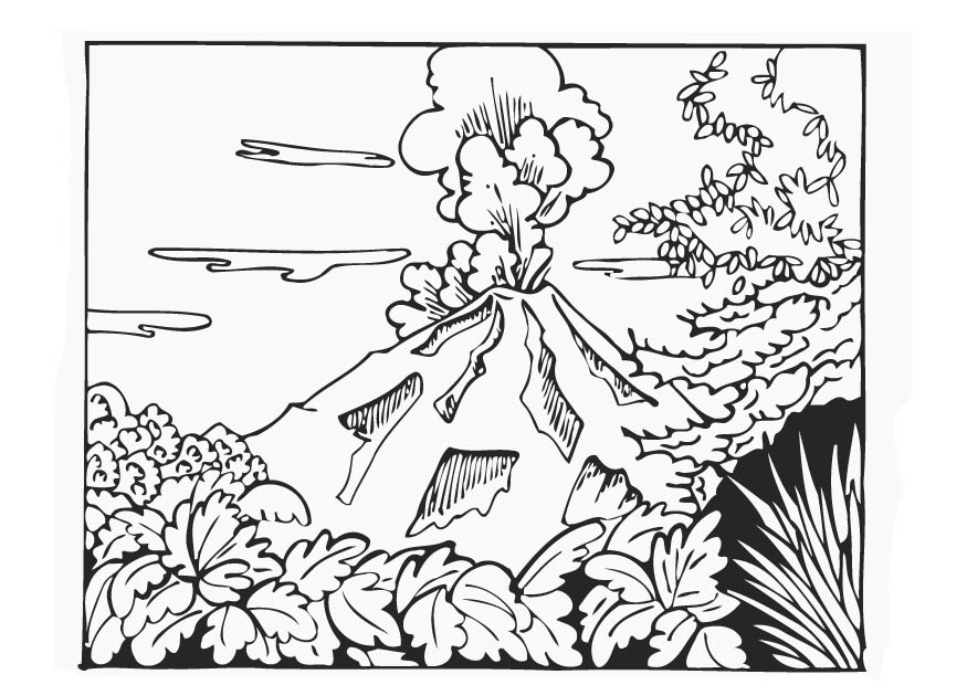 coloring pages volcano - photo #9
