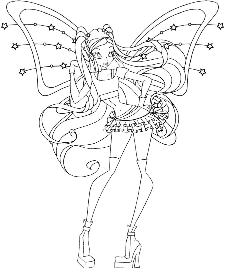 Coloring page x wing - Winx Club Stella Coloring Pages