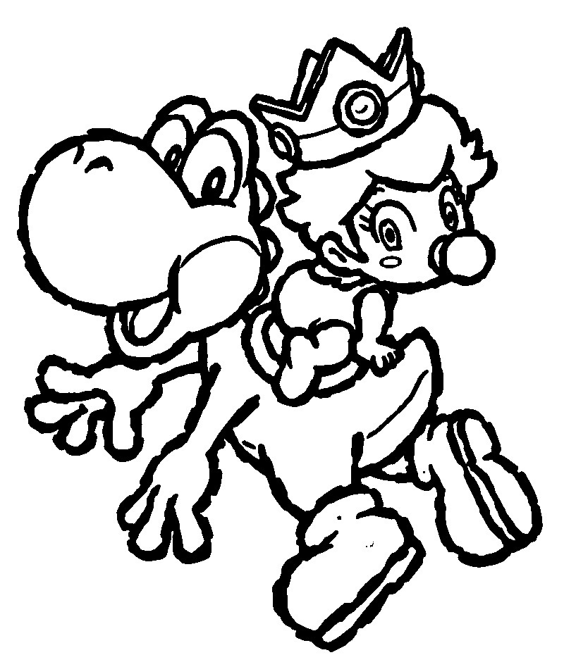 yoshi coloring pages to print - Baby Princess Peach Coloring Pages
