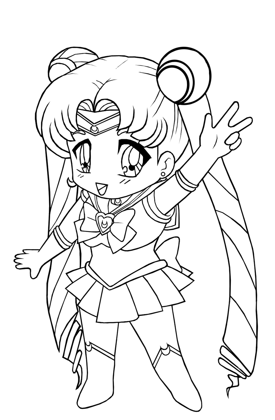 Free printable chibi coloring pages for kids for Anime character coloring pages