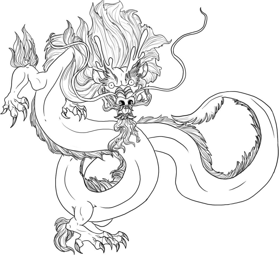 chinese dragon coloring page for kids