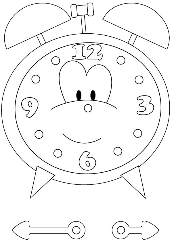 Clock coloring pages for kids