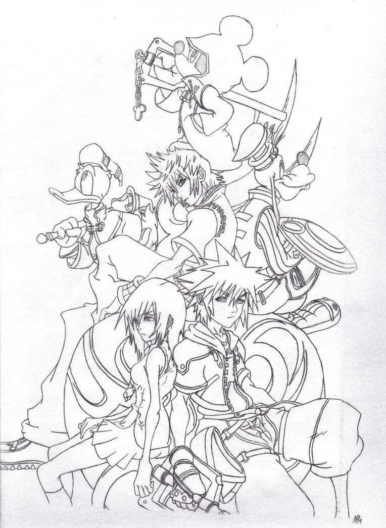 Kingdom Hearts Lineart : Free printable kingdom hearts coloring pages for kids