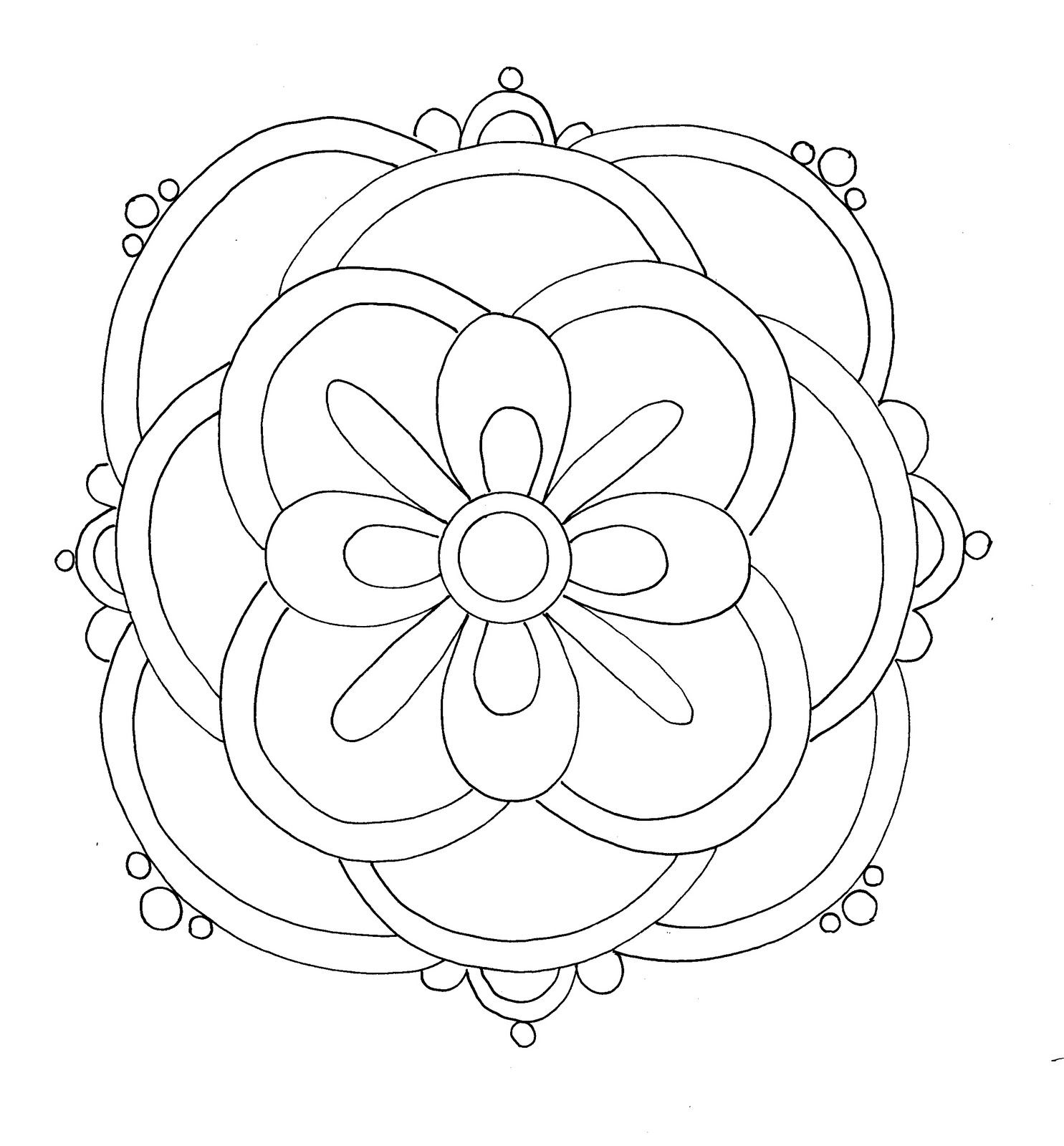 free printable rangoli coloring pages for kids - Colour In Picture