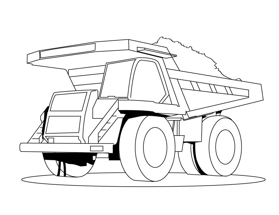 Garbage truck coloring book pages - Dump Truck Coloring Pages