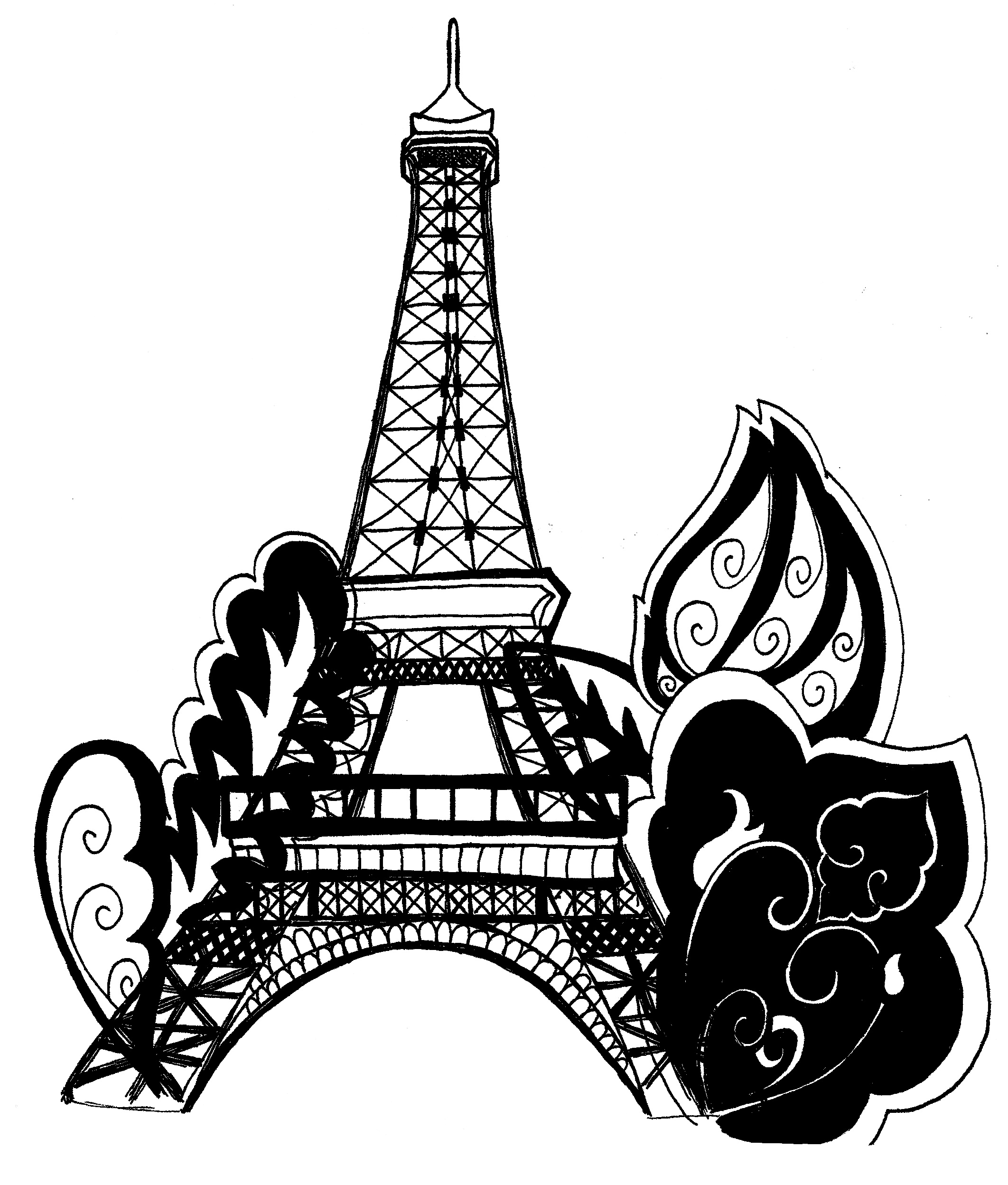 eiffel tower coloring pages images - Paris Eiffel Tower Coloring Pages