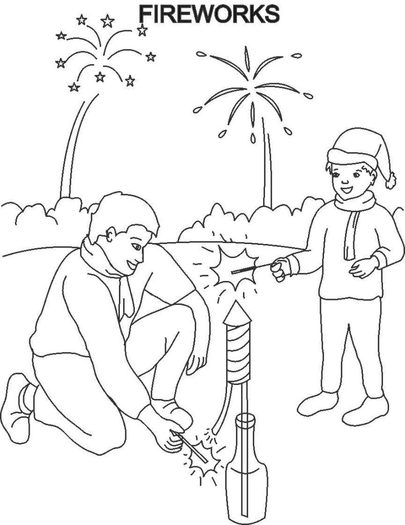 Free printable fireworks coloring pages for kids Coloring book for toddlers