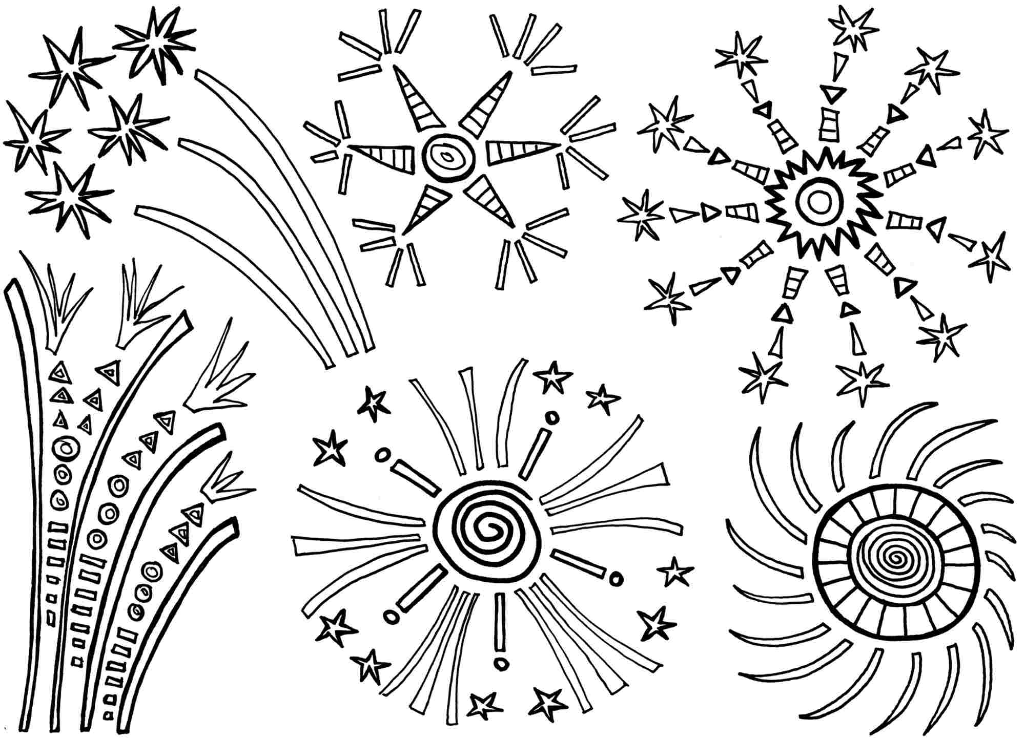 Printable Coloring Page Fireworks