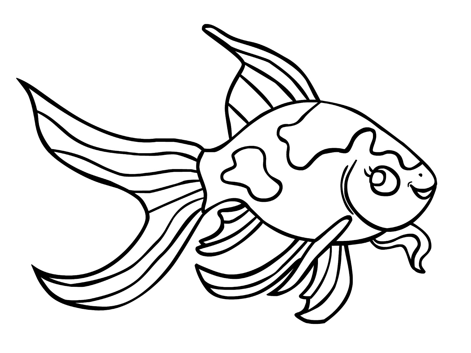 Free printable goldfish coloring pages for kids for Printable fish coloring pages