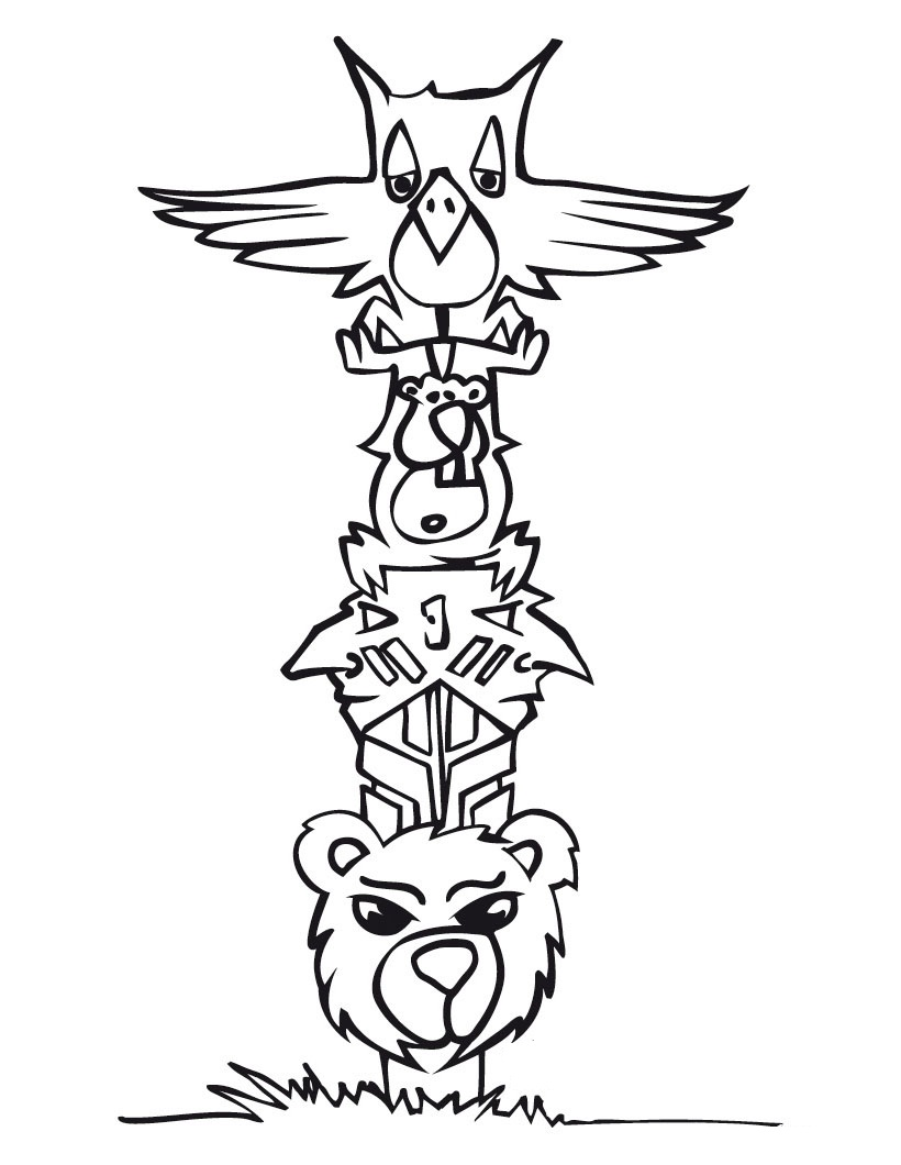 totem pole animal coloring pages - photo#8