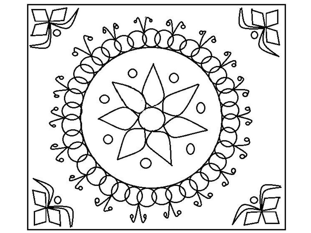 Free printable rangoli coloring pages for kids for Coloring book pages free