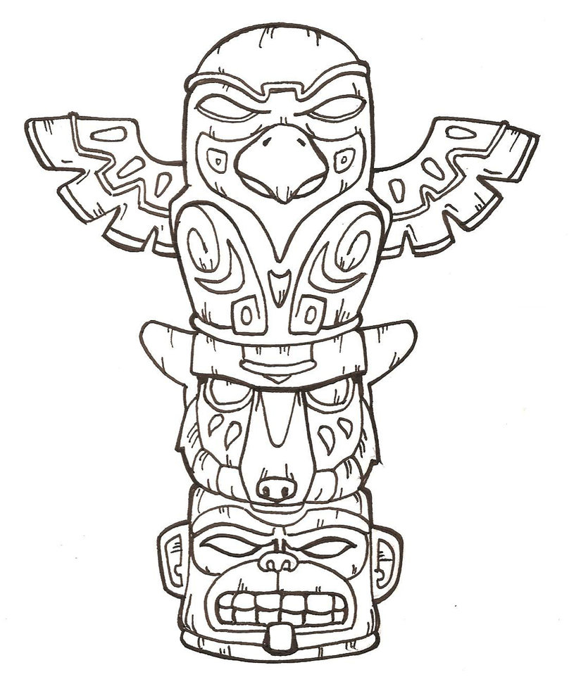Coloring Pages Native American Symbols Coloring Pages free printable totem pole coloring pages for kids pages