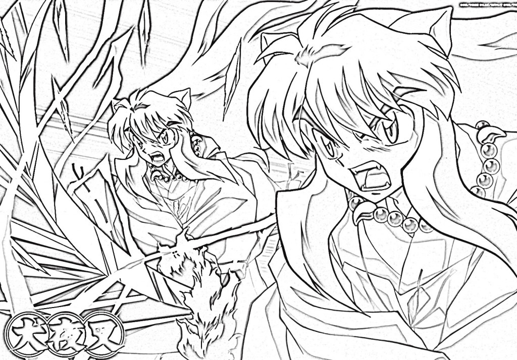 Coloring: Free Printable Inuyasha Coloring Pages For Kids