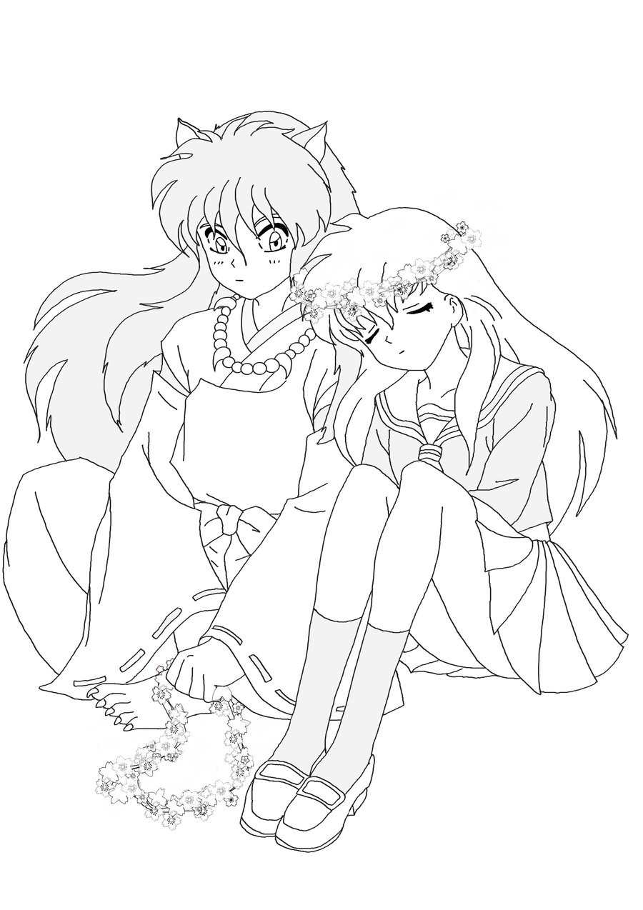 inuyasha and kagome coloring pages - Inuyasha Coloring Pages
